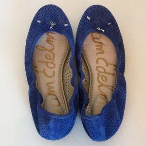 San Edelman blue suede Felicia flats